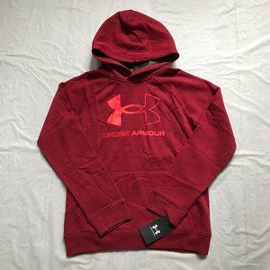 NEW Under Armour Boys Pullover Hoodie Red Wine Fleece Youth Size XL Logo Sporty